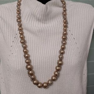 Talbots taupe Pearl and silver chain necklace